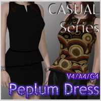 CASUAL Series: Peplum Dress V4-A4-G4 3D Figure Essentials nikisatez