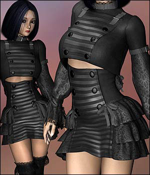 Lolita Rose Gothic Steampunk for V4 3D Figure Assets RPublishing
