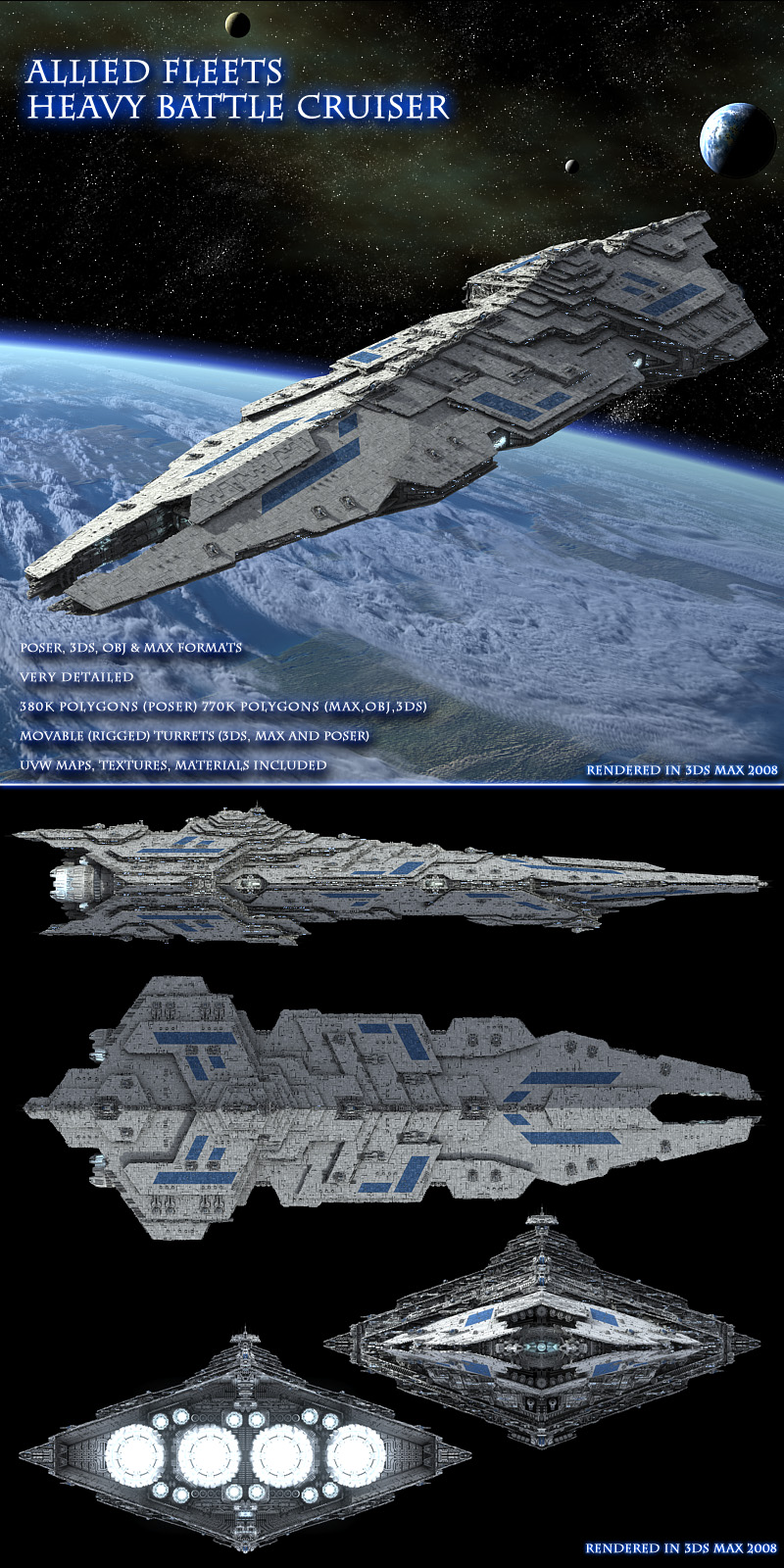 Allied Fleets Heavy Battle Cruiser - Poser,DAZ,OBJ,3DS,MAX