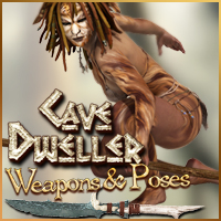 CaveDweller Weapons and Poses for V4 3D Models 3D Figure Assets pixeluna