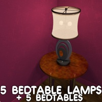 5 Bedtable lamps Software 3D Models greenpots