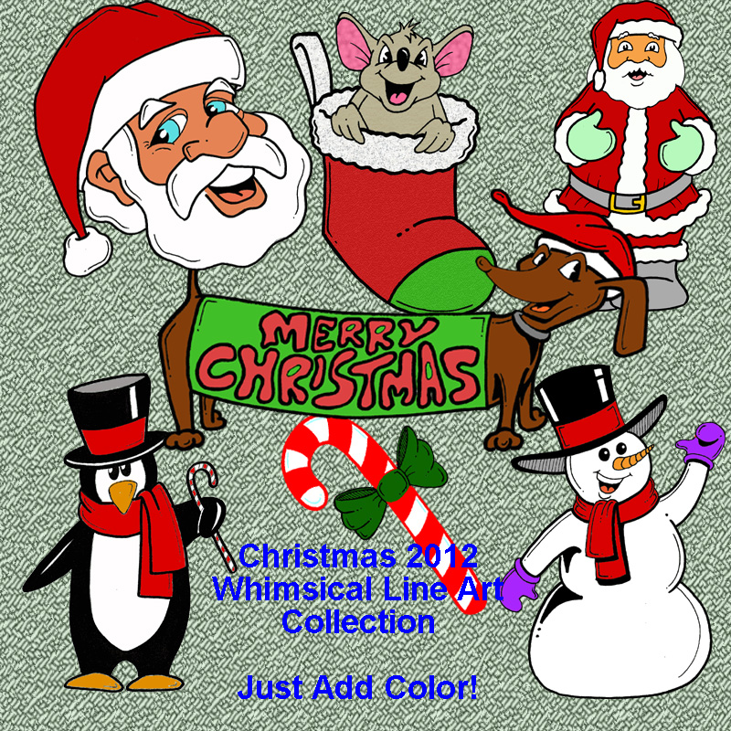2012 Christmas Whimsical Line Art Collection