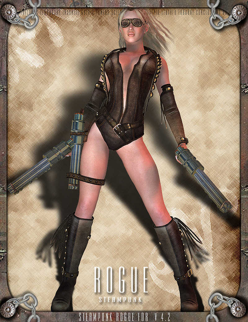 Steampunk Rogue for V4 with Props and Poses by RPublishing