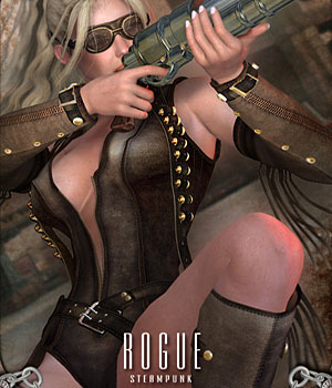 Steampunk Rogue for V4 with Props and Poses 3D Figure Essentials 3D Models RPublishing