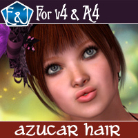 Azucar Hair For V4 And A4 3D Figure Assets EmmaAndJordi
