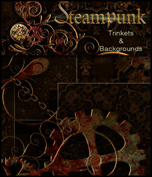 Steampunk Trinkets and Backgrounds 2D Graphics 3D Models antje