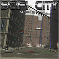SciFi City Street Level 3D Models 3-d-c