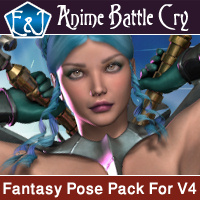 Anime Battle Cry Poses Pack For V4 3D Figure Assets EmmaAndJordi