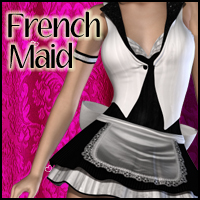 French Maid Uniform for V4 3D Figure Assets 3D Models RPublishing