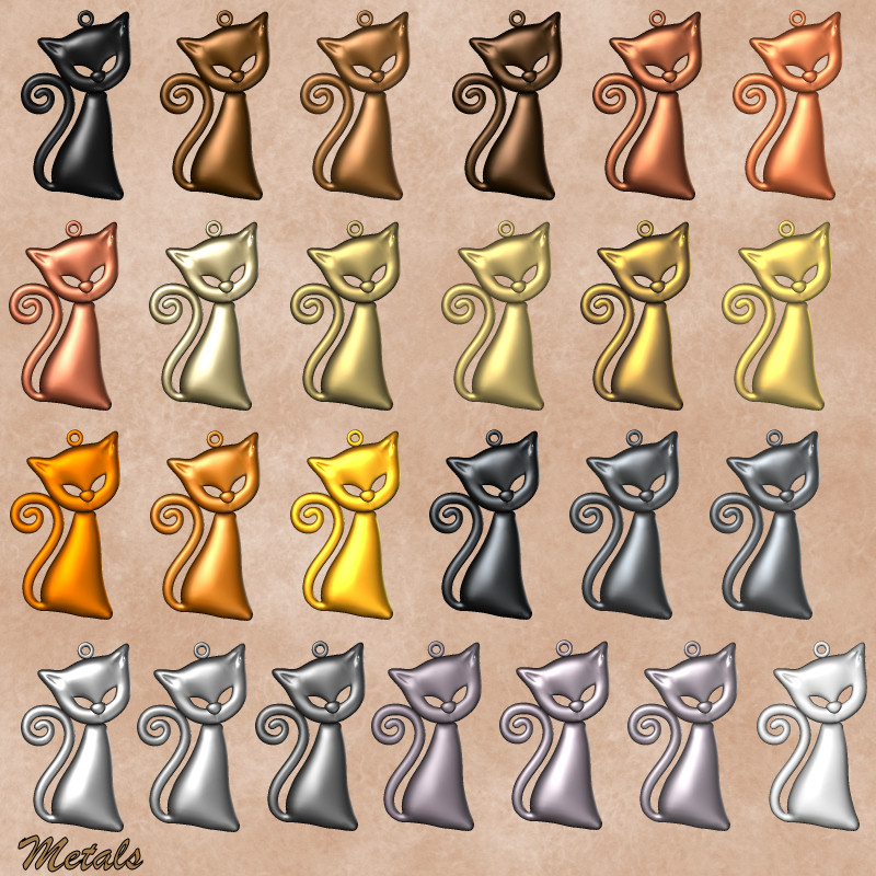 Metallic Jewellery shaders for Poser