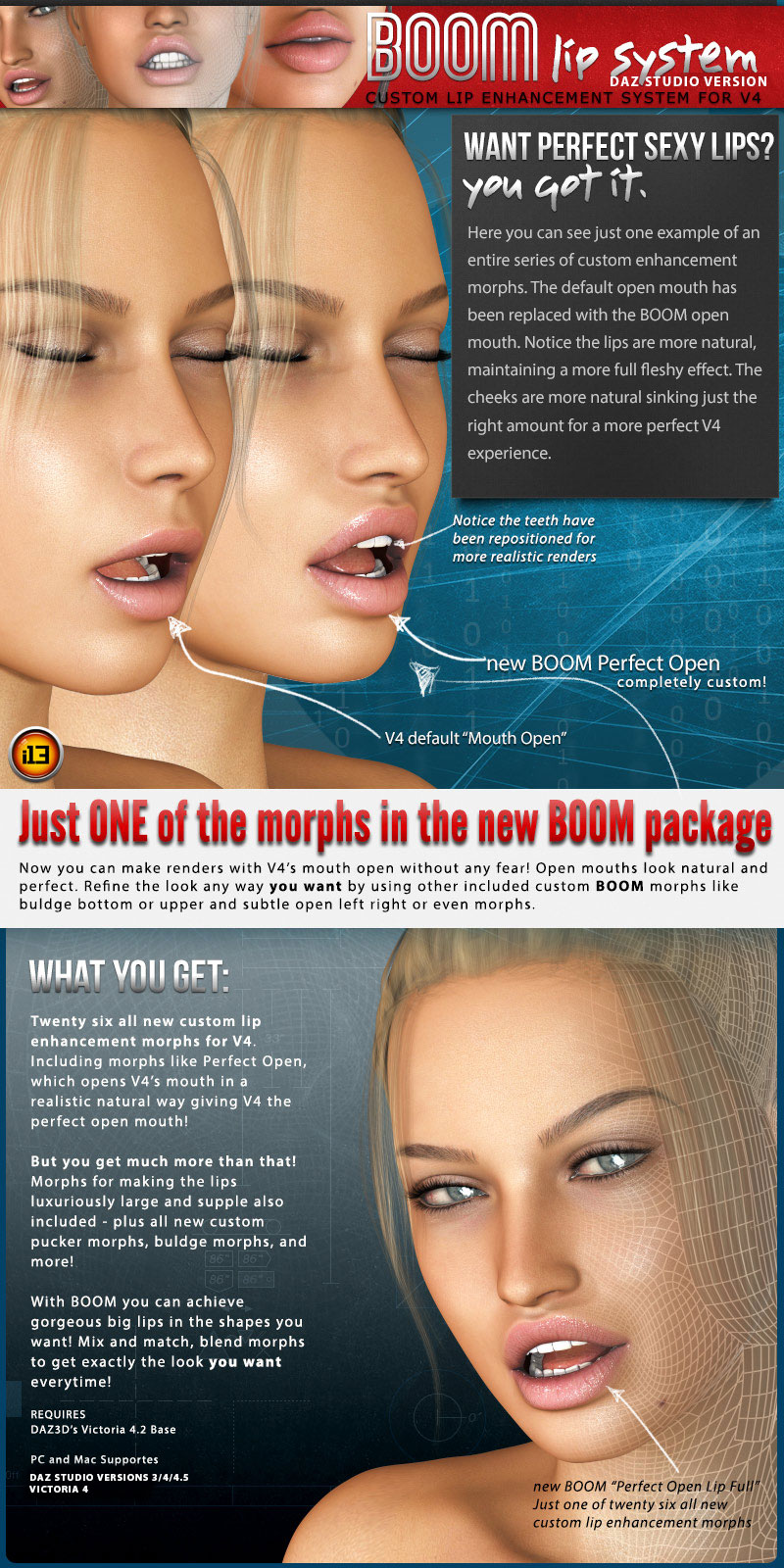 i13 BOOM Lip System for V4 - Daz Studio Version