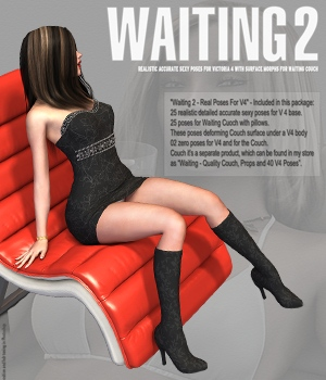 Waiting 2 - Real Poses For V4 3D Figure Assets hameleon