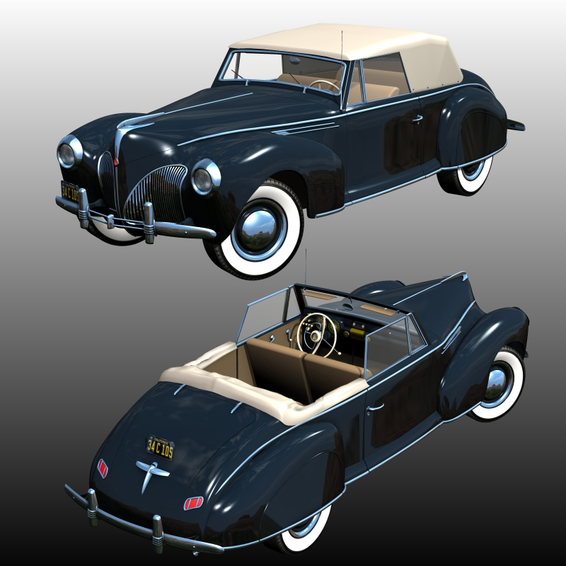 Lincoln Zephyr Coupe Convertible 1940 For Poser 3d