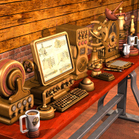 Steampunk Office Equipment by Nightshift3D