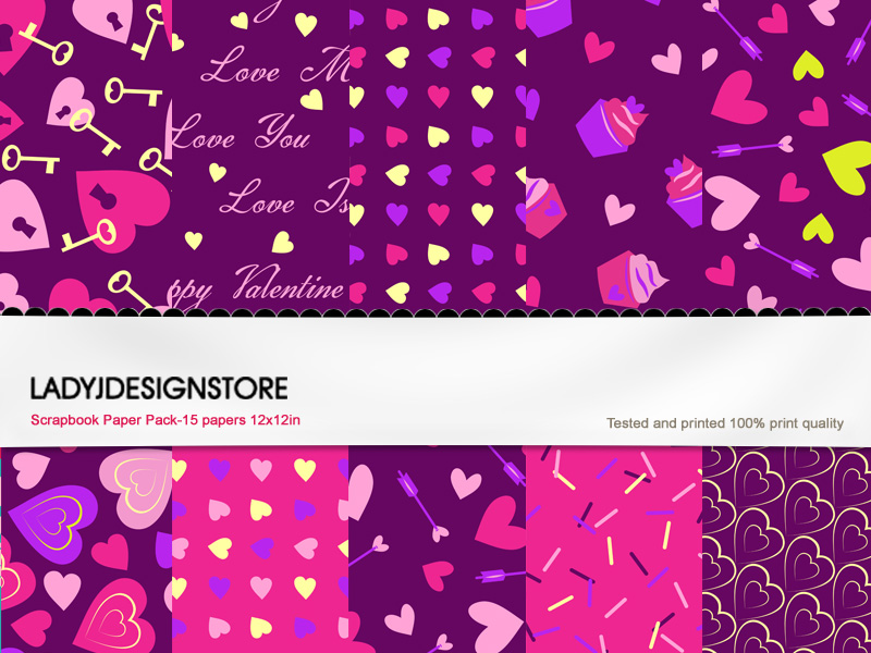 Digital Texture or Paper Pack – Purple Valentine!
