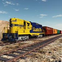 SANTA FE FREIGHT TRAIN 1954-1965 (bundle for Vue) 3D Models 3DClassics