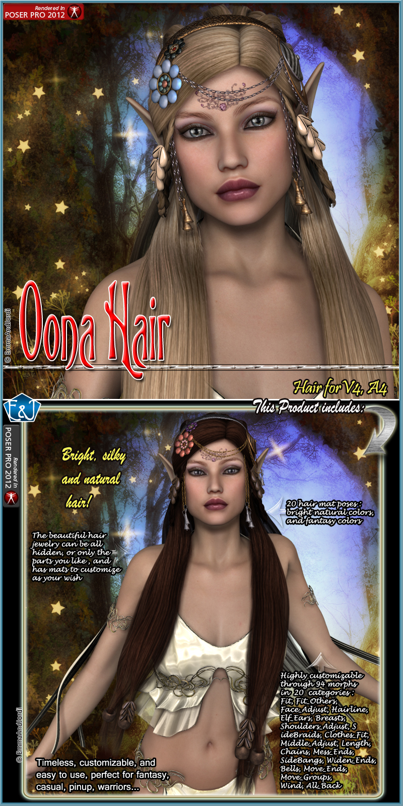 Oona Hair For V4 And A4