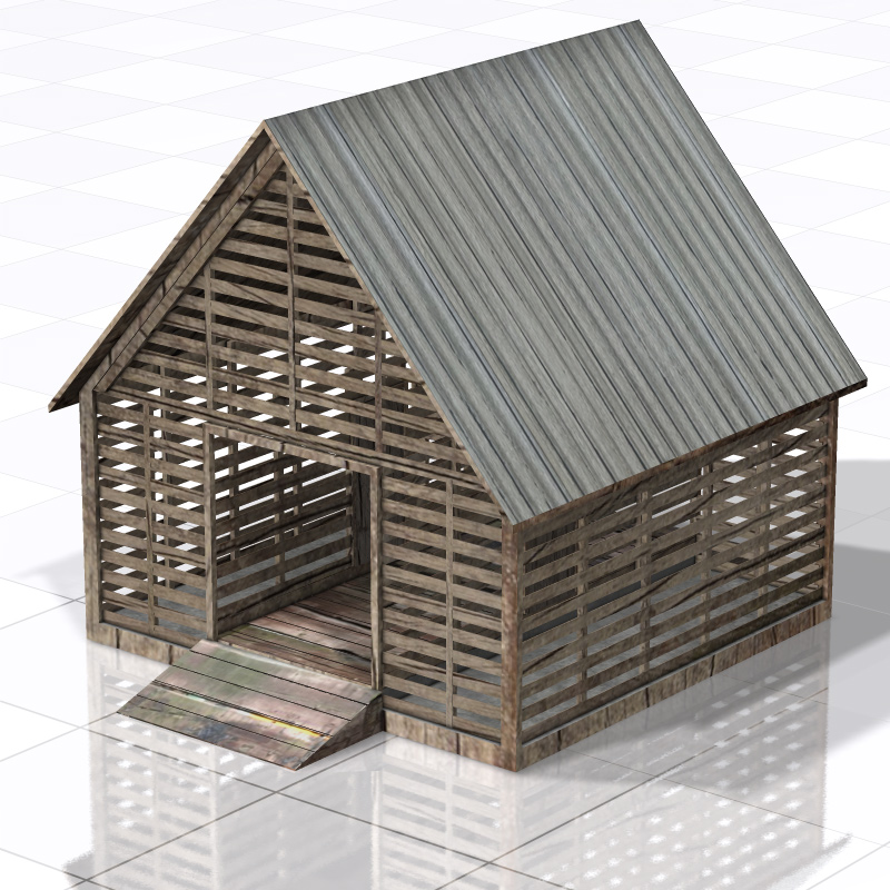Corncrib (for Poser, Vue, 3ds/ obj)