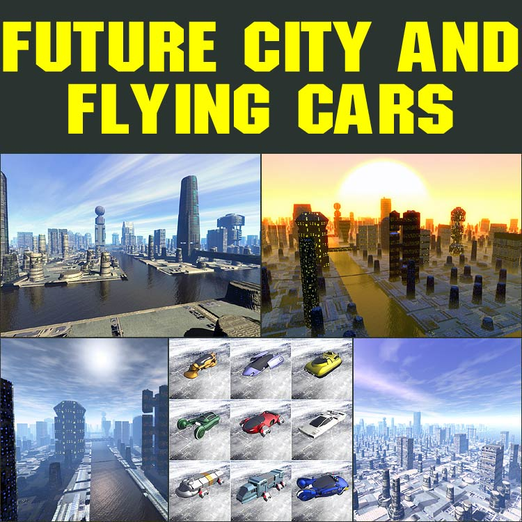 Future city and flying cars