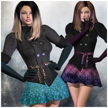 Uptown Fashion Outfit for V4 3D Figure Assets RPublishing