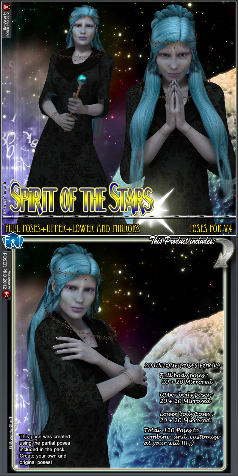 Spirit Of The Stars Poses Pack For V4