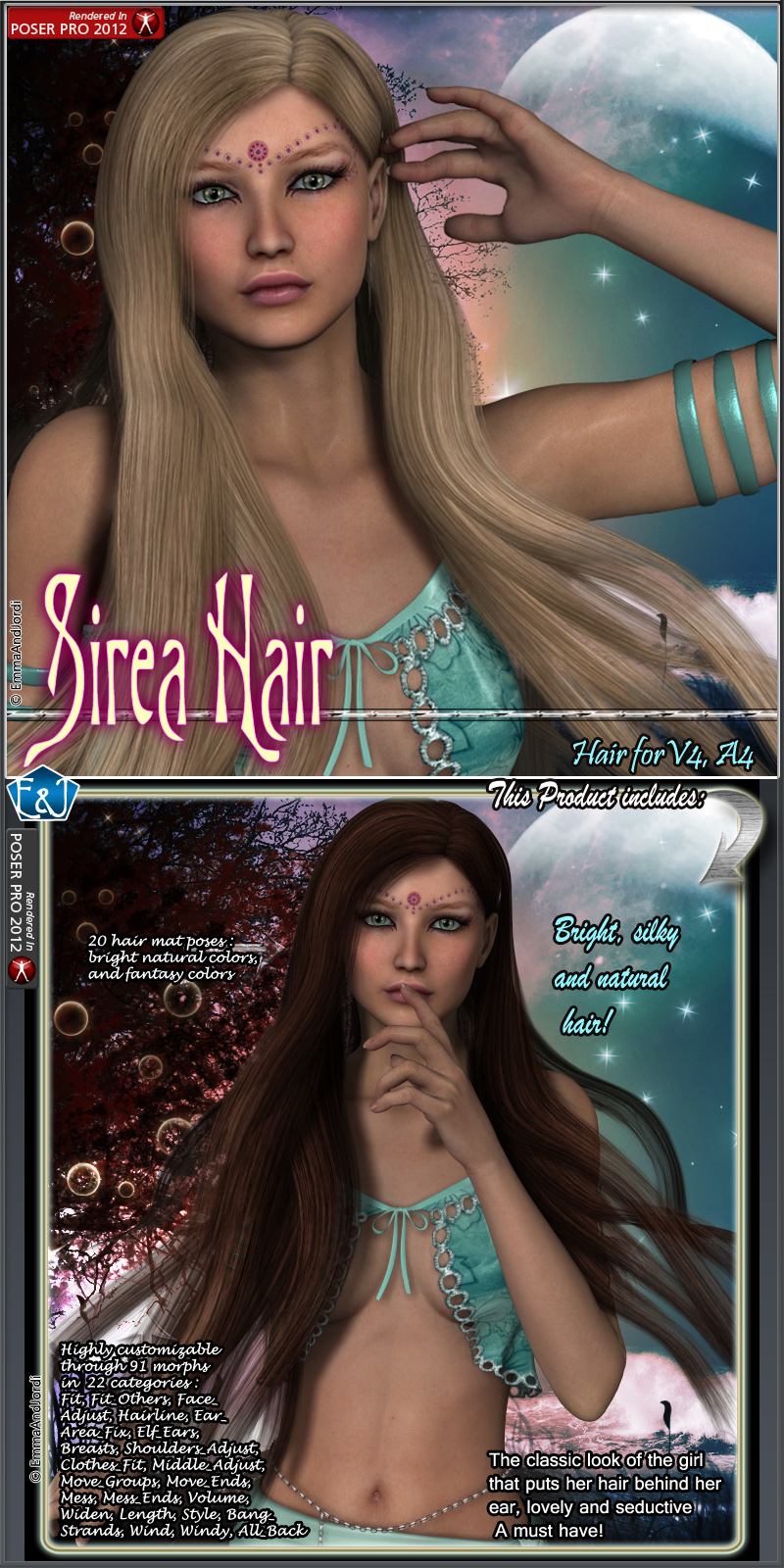 Sirea Hair For V4 And A4