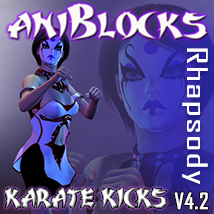 Rhapsody Karate Kicks aniBlocks for V4 Software Characters Themed Gaming Poses/Expressions SAS3D