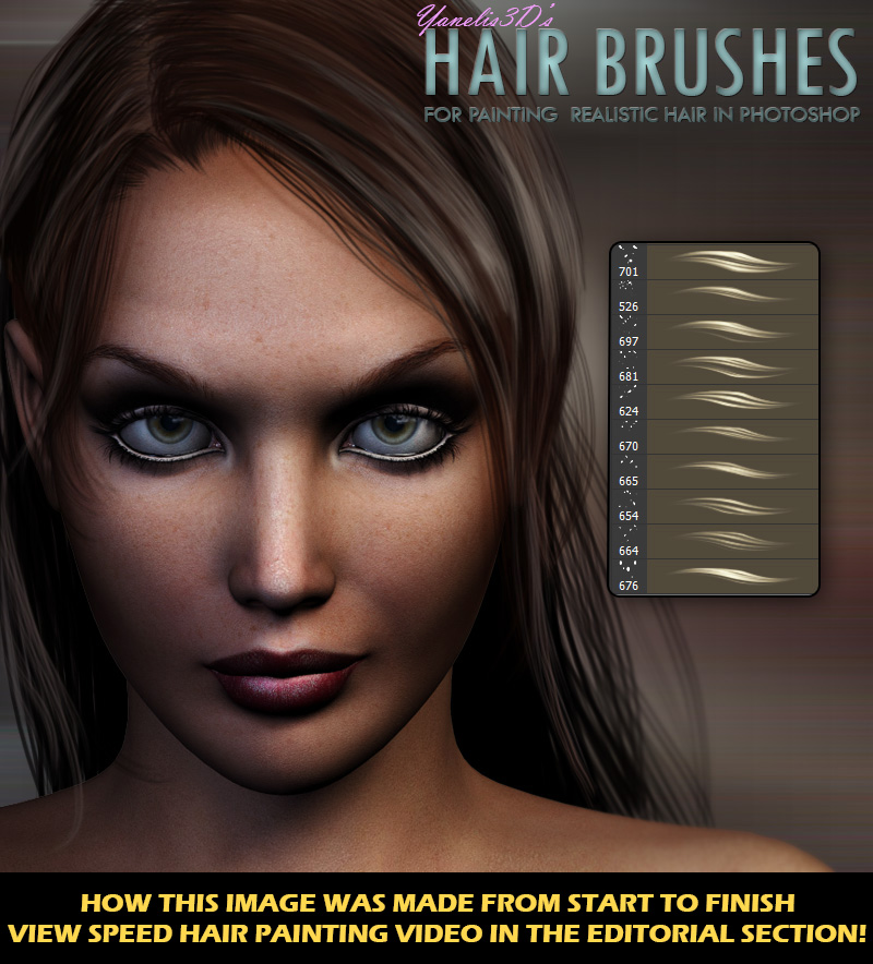 Y3D Hair Brushes for Photoshop by Yanelis3D