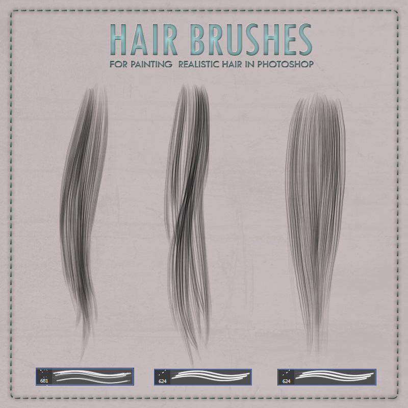 Y3D Hair Brushes for Photoshop 2D Graphics Yanelis3D