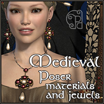 Pd-Medieval Poser Materials and Jewels 3D Figure Essentials 2D parrotdolphin