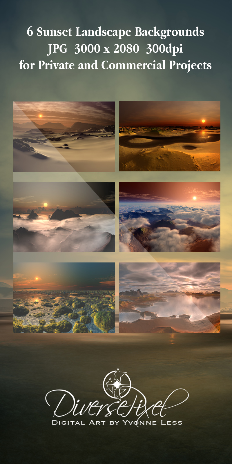 6x 2D Sunset Landscape Backgrounds