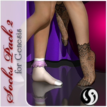 Socks Pack 2 for Genesis, V5 and S5 Clothing Footwear Software Accessories Themed RPublishing