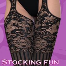 Stocking Fun - Suspender Support PantyHose Clothing Themed kaleya