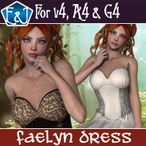 Faelyn Dress For V4 A4 And G4 3D Figure Assets EmmaAndJordi