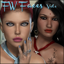 FW Faces Vol 1 - MR 3D Models 3D Figure Essentials FWArt