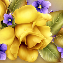 Moonbeam's Yellow Roses & Violets 3D Models 2D moonbeam1212