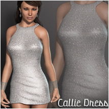 Callie Dress V4A4G4 3D Figure Essentials 3D Models OziChick