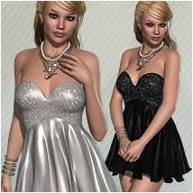 Party for BDay Dress 3D Figure Assets 3D Models OziChick