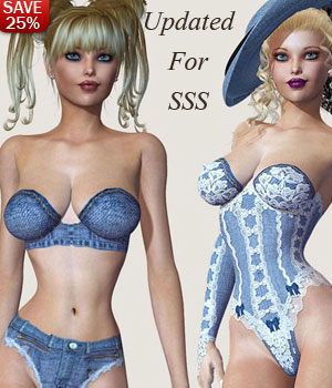 B#1 1 Click Denim Super Skinz Bodygloves  3D Figure Essentials lululee