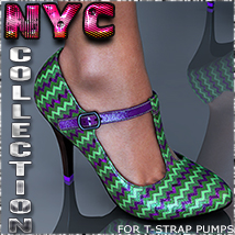 NYC Collection: T-Strap Pumps Footwear 3DSublimeProductions