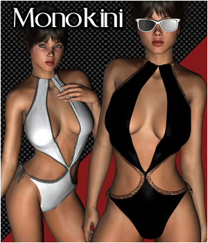Monokini Bathing Suit for V4 3D Figure Assets RPublishing