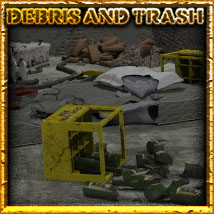 Debris and Trash Themed Props/Scenes/Architecture Software 3-d-c