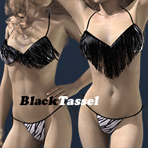 BlackTasselBikiniSwimwear 3D Figure Essentials 2Fingers